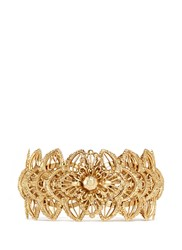 Miriam Haskell Layered Filigree Flower Cuff Metallic