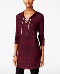 G.H. Bass And Co. Hooded Lace Up Tunic Plum Gem Combo