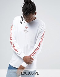 Hype Long Sleeve Tee With Russian Arm Text White