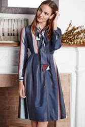 Anthropologie Tie Neck Shirtdress Blue Motif