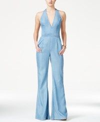 Guess Wide Leg Denim Halter Jumpsuit Alden Wash