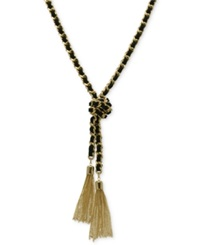 Guess Gold Tone And Black Chain Tassel Necklace Gold Black