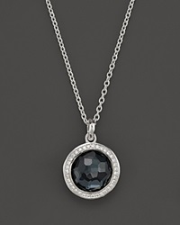 Ippolita Stella Lollipop Pendant Necklace In Hematite Doublet With Diamonds In Sterling Silver 16 Silver Black