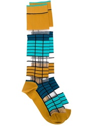 Issey Miyake Long Striped Socks Yellow And Orange