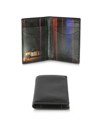Paul Smith Mini Graphic Edge Print Men's Black Leather Credit Card Wallet