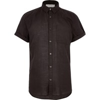 River Island Mens Black Linen Rich Short Sleeve Shirt