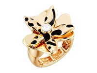 Guess Sculpted Flower Stretch Ring Gold Jet Ring Black