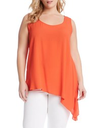 Karen Kane Plus Plus Olive Asymmetrical Tank Top Orange