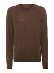 Howick Arlington V Neck 100 Lambswool Jumper Bark