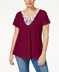 Ing Trendy Plus Size Crochet Trim Top Oxblood