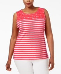 Charter Club Plus Size Striped Crocheted Yoke Top Only At Macy's Modern Coral Combo