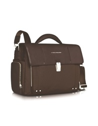Piquadro Link Front Pocket Double Gusset 15 Laptop Briefcase Dark Brown