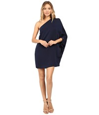 Halston Asymmetrical Sleeve Mini Dress Dark Navy Women's Dress