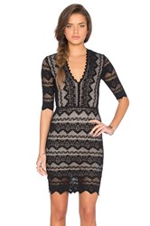 Nightcap Sierra Lace 3 4 Sleeve Deep V Dress Black
