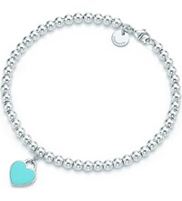 Tiffany And Co. Return To Tiffanytm Mini Heart Tag In Sterling Silver On A Bead Bracelet