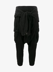 Faith Connexion Sarouel Trousers With Lace Up Detailing Black Silver