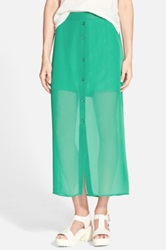 Lily White Button Front Sheer Maxi Skirt Juniors Green