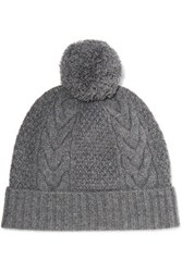 N.Peal Cashmere Pompom Embellished Cable Knit Cashmere Beanie Anthracite