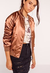 Missguided Premium Zip Detail Satin Bomber Jacket Bronze Gold Gold