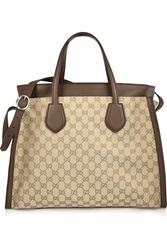 Gucci Ramble Large Leather Trimmed Monogrammed Canvas Tote