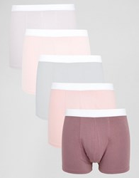Asos Trunks In Pink 5 Pack Pink