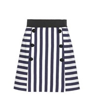Dolce And Gabbana Striped Cotton Miniskirt Blue