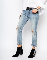 Noisy May Cropped Straight Jeans With Ripped Knees Blue