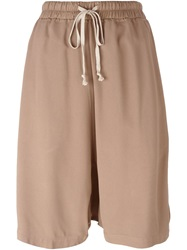 Rick Owens Drop Crotch Shorts Nude And Neutrals
