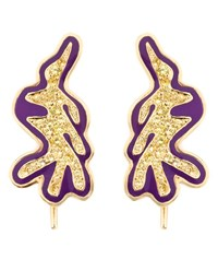 Kdia Gold And Sapphire Deco Earrings Purple Sapphire Yellow White Black
