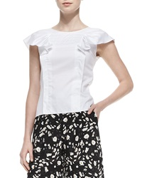 Carolina Herrera Ruffled Cap Sleeve Poplin Blouse