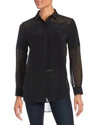 Imnyc Isaac Mizrahi Sheer Panelled Tunic Black