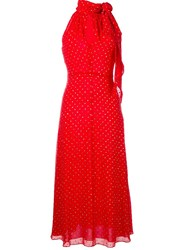 Saint Laurent Glitter Embellished Dress Red