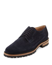 Dries Van Noten Suede Blucher Shoe Navy