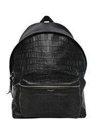 Saint Laurent Croc Embossed Leather Backpack