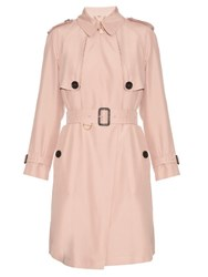 Burberry Everson Silk Noil Trench Coat Light Pink