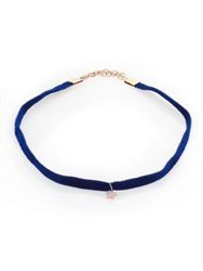Kismet By Milka White Star Diamond And Velvet Choker Blue
