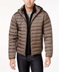 Calvin Klein Men's Packable Hooded Puffer Coat Bronze Melange
