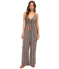 Brigitte Bailey Liza Spaghetti Strap Jumpsuit With Tassels Black Coral Women's Jumpsuit And Rompers One Piece
