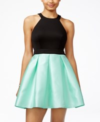 Teeze Me Juniors' Colorblocked Fit And Flare Dress Black Light Blue