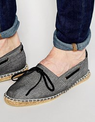 Asos Canvas Espadrilles In Chambray With Tie Front Detailing Black