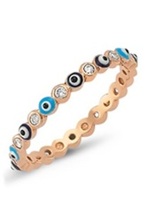 Amorium Rose Gold Vermeil Cz And Evil Eye Ring Blue
