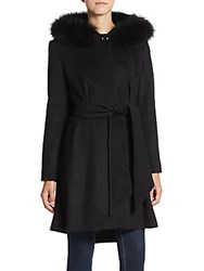 George Simonton Fox Fur Trimmed Belted Cashmere Coat Black