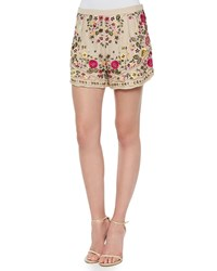 Haute Hippie Woven Floral Embroidered Shorts Buff Multi