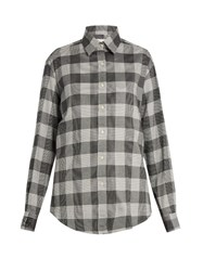Stella Jean Partire Checked Cotton Blend Shirt Black White