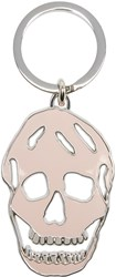 Alexander Mcqueen Pink And Silver Cut Out Skull Keychain