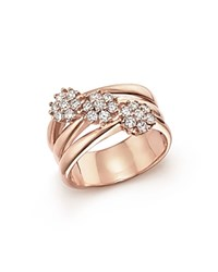 Bloomingdale's Diamond Multi Band Ring In 14K Rose Gold .58 Ct. T.W White Rose