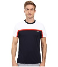 Lacoste Sport Short Sleeve Ultra Dry Color Block White Navy Blue Corrida Men's T Shirt
