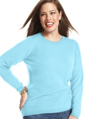 Charter Club Plus Size Cashmere Crew Neck Sweater In 14 Colors Only At Macy's Clarion Blue