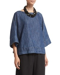 Eskandar 3 4 Sleeve Bateau Neck Tunic Denim Blue Size 2