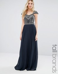 Maya Tall Wedding Embellished Cap Sleeve And Bodice Maxi Dress Navy